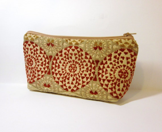 Clutch Pouch Cosmetic Bag  Rust and Taupe