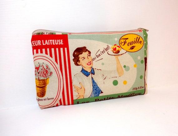 Medium Zipper Pouch Cosmetic Pouch Pencil Case Retro Vintage Cookies