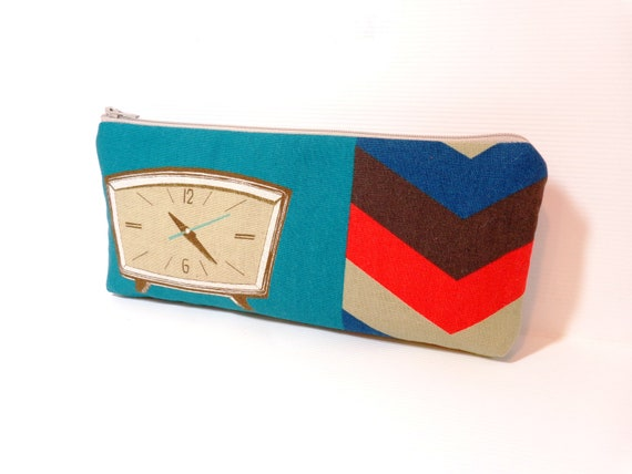 Medium Zipper Pouch Pencil Case Cosmetic Pouch Toiletery Bag Retro Alarm Clock in Tan and Teal