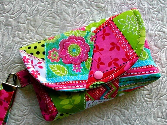 Large Snap Wristlet... Patchwork Pop in Pink