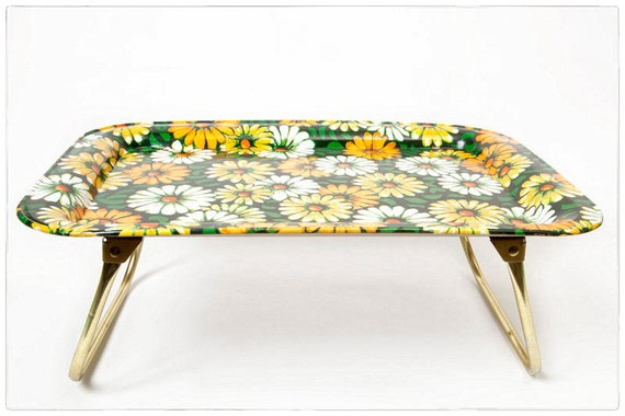 Vintage Flower Power Folding Breakfast Tray, yellow, orange, and white daisies