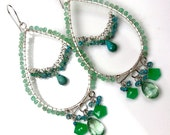 RESERVED - ON SALE - Statement Gemstone Hoop Earrings Wire Wrapped Sterling Silver Green Chrysoprase Turquoise
