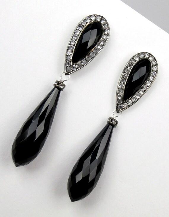 Luxury Black Drop Post Earrings Bezel Set White Topaz Black Tourmaline Black Garnet Gemstone Dangle Earrings Oxidized Sterling Silver
