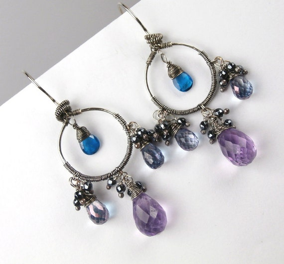 Amethyst Chandelier Earrings Wire Wrap Gemstone Oxidized Silver - February Birthstone