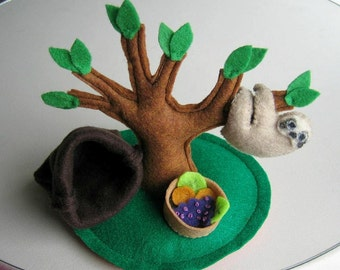 Sloth Playset stuffed plush animal with tree food and snuggle bag - light brown sloth