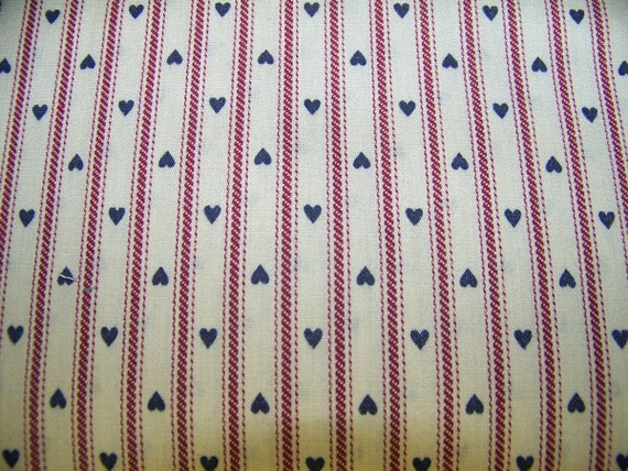 Pillow ticking with hearts Fabric 3 yard piece