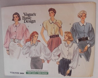 Vogue Basic Design blouse pattern, 1980s