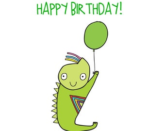 Alien Birthday Card - Green Alien