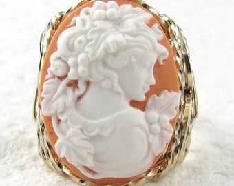 Grecian Goddess Orange Cameo Ring 14K Rolled Gold Custom Jewelry