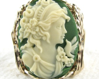 Grecian Goddess Dove Cameo Ring 14K Rolled Gold