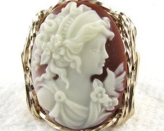Grecian Goddess Dove Cameo Ring 14K Rolled Gold Jewelry
