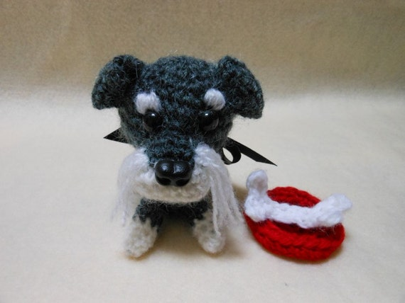 Miniature Schnauzer Crochet Dog in Gray and Cream, Canine, Amigurumi, Stuffed Dog, Dog Lover, Pet, Stuffed Animal