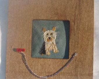 Yorkie Dog Portrait Embroidered Miniature Framed