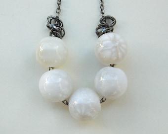 White Resin Necklace - White, Grey, Ivory, Big, Balls, Black, Gunmetal, Rustic, Warm, Modern, Fashion, Mother's Day