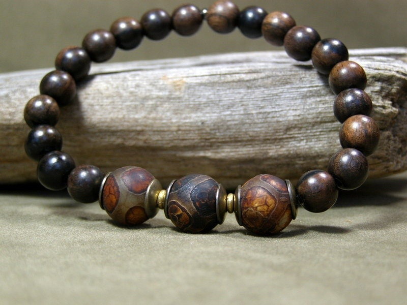 Mens Beaded Bracelet Wood Bracelet Mens Jewelry Mens