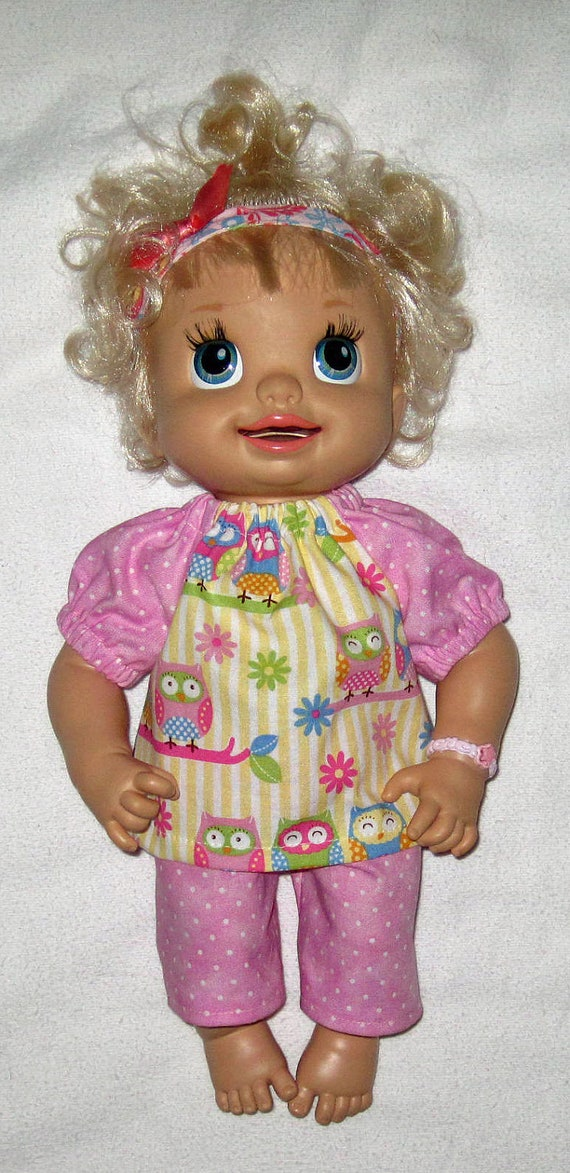 My Baby Alive Doll Clothes Pastel Owl Top and Capri Set