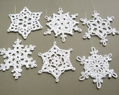 6 Crochet Christmas Decorations -- Large Snowflake Assortment ST4, in White