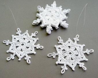 6 Crochet Snowflake Ornaments -- Large Snowflake B83, in White