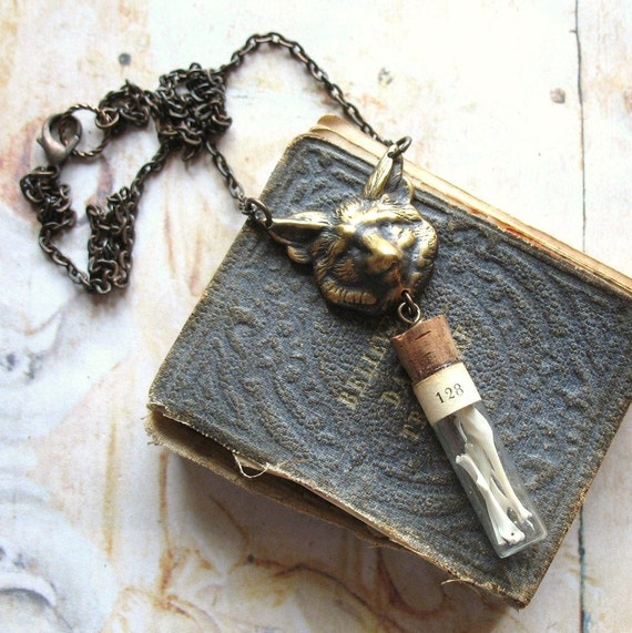 Wolf - Oxidized Brass Wolf Head and Vintage Glass Vial Handmade Unisex Necklace