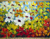 Original Modern Impressionist Palette Impasto Flowers Field SUNFLOWERS IN BLOOM XLarge Painting 40x30