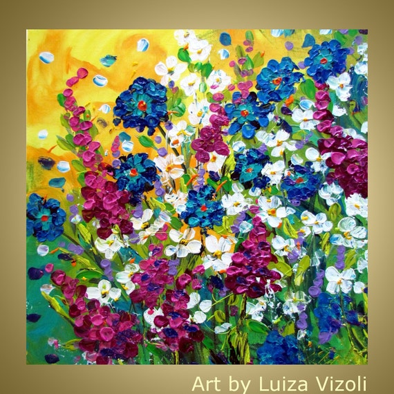 Original modern colorful contemporary flowers impasto oil for Modern flower paintings