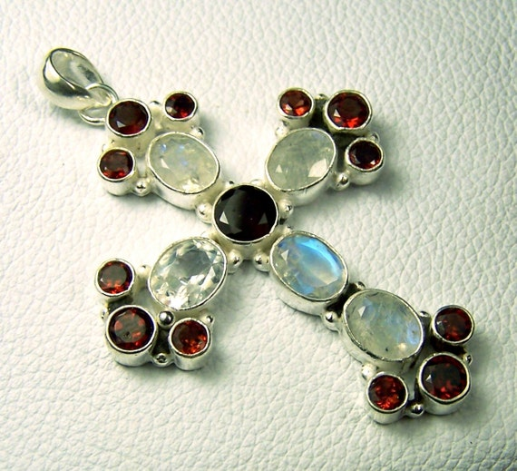 Cross - Pendant - necklace - focal Bead - Rainbow Moonstone - Garnet - Sterling SIlver plated - faceted gemstones - red white - large
