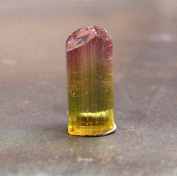 Tourmaline - Green Pink Bi Color Tourmaline - Tourmaline Crystal  - Terminated cap point  - Bicolor - wire wrap jewelry pendant stone