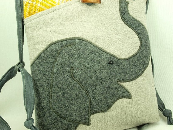 Elephant Eco Friendly Tote Linen Shoulder Bag Recycled Messenger Linen Colored Grey Yellow Adjustable Upcycled Eco Friendly