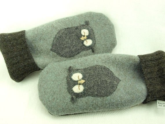 Men Felted Wool Mittens Owl Sweater Mittens Grey Brown Owl Applique Fleece Lining Leather Palm Eco Friendly Upcycled Size M-ML