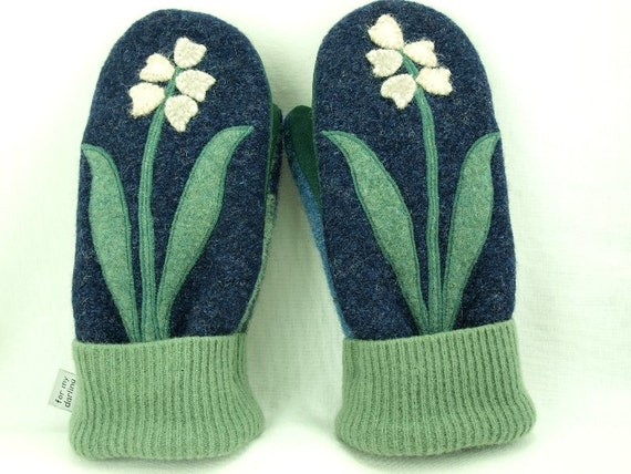 Mittens Wool Recycled with Flower Applique in Dark Blue, Green and White Fleece Lining Leather Palm Eco Friendly RESERVED FOR  AINSLEY