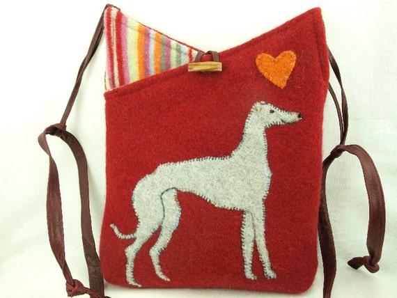 Greyhound Shoulder Bag  Felt Messenger Bag Red and Grey Whippet Applique Adjustable Leather Strap Upcycled Eco-Friendly