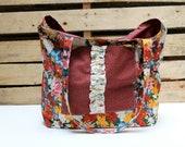 Beach Tote - Market Bag - Floral - Red - Ruffles