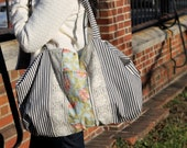 Extra Large Weekender Bag - Beach Tote - Black and White Ticking with Lace and Floral