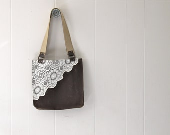 Waxed Canvas Tote Bag with Upcycled Lace - Chestnut Brown