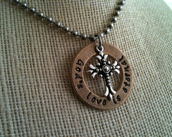 Hand Stamped Jewelry Necklace Pendant Inspirational Cross