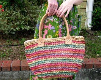 Large Rainbow Striped Staw Tote Bag