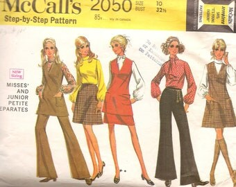 1960s - Vintage Sewing Patterns - Hipster Style - Boho - Wide Leg Pants - Jumper - Tunic Skirt - Blouse - Small - DIY - Retro - McCalls 2050