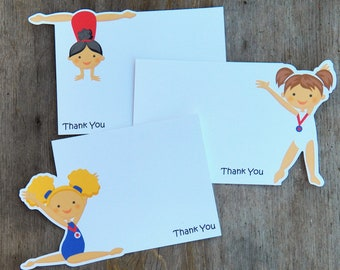 USA Gym Girls Party - Set of 8 Assorted Gymnastic Thank You Cards by The Birthday House