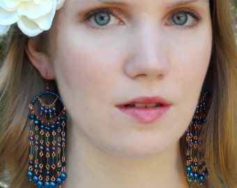 Metallic Blue Chandelier Earrings: Juno - Peacock Colors of Metallic Blue and Indigo on Copper Wire