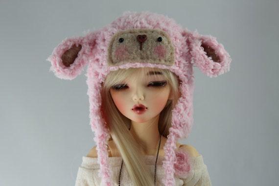 Pink Lamb Hat for MSD BJD, 1/4 Dollfie, Minifee