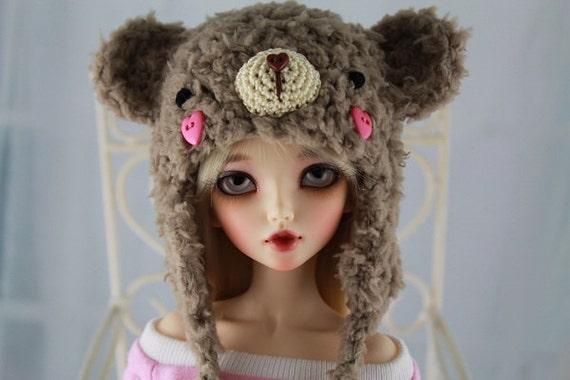 Brown Bear Hat for MSD BJD, 1/4 Dollfie, Minifee