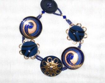 Blue and Gold Earring Bracelet - 1254