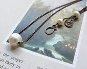 Pearl and Copper Necklace, handmade.  White. Branwen's Dream
