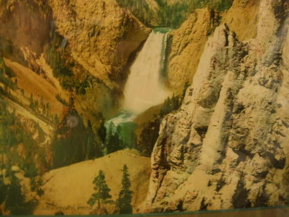 Antique/Vintage 1902 William Henry Jackson Photo of Lower Falls of Yellowstone