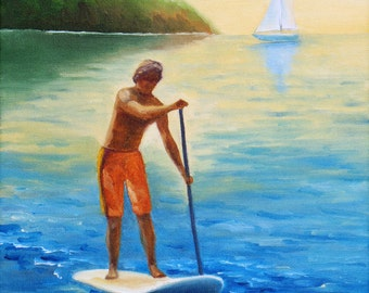 "GICLEE reproduction on 8 1/2 x 11"" fine art PAPER - Summer Paddle (SUP, stand up paddle, surf))"