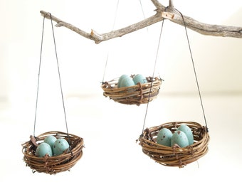 Christmas Ornaments Nest, Blue Robins Eggs, Tree Decorations, Winter Decorating, natural nature inspired handmade eco friendly Home Decor