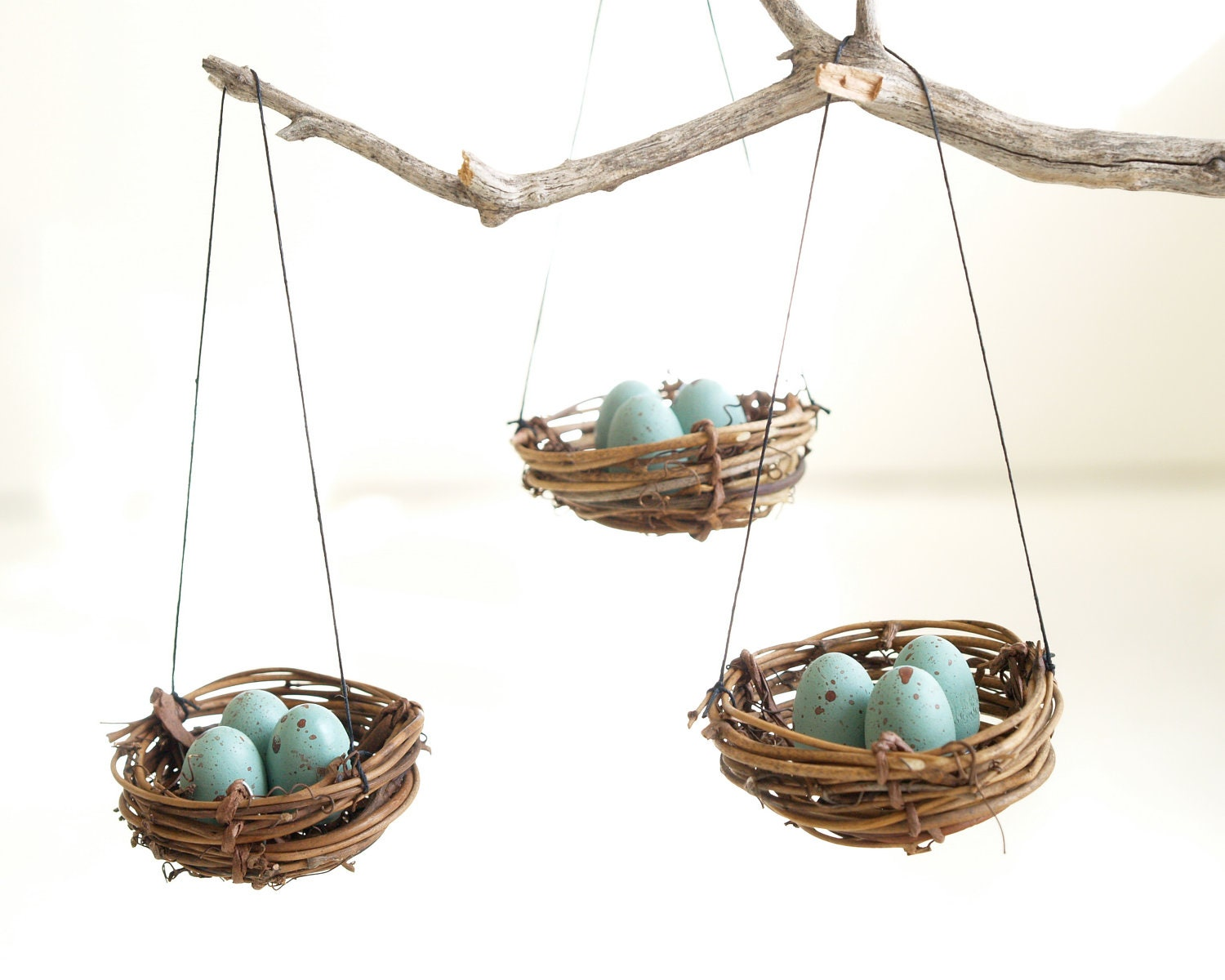 Christmas ornaments nest blue robins eggs tree Eco friendly home decor