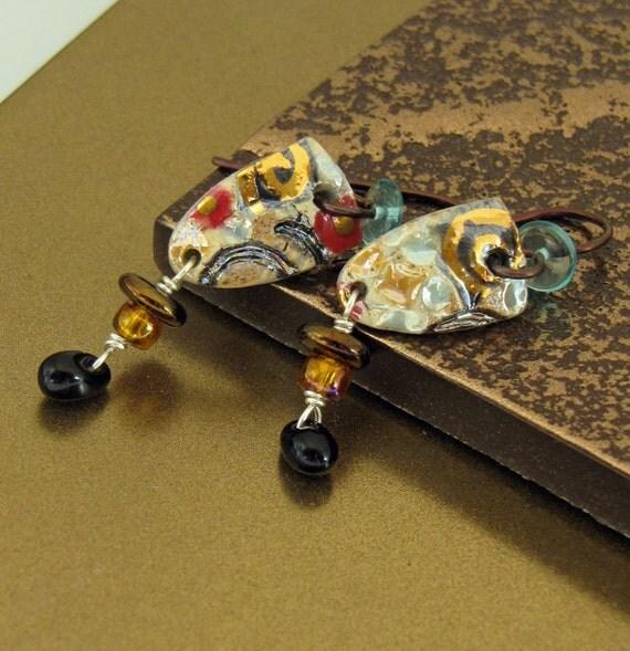 Small Porcelain Shield Earrings With Black Glass Teardrops