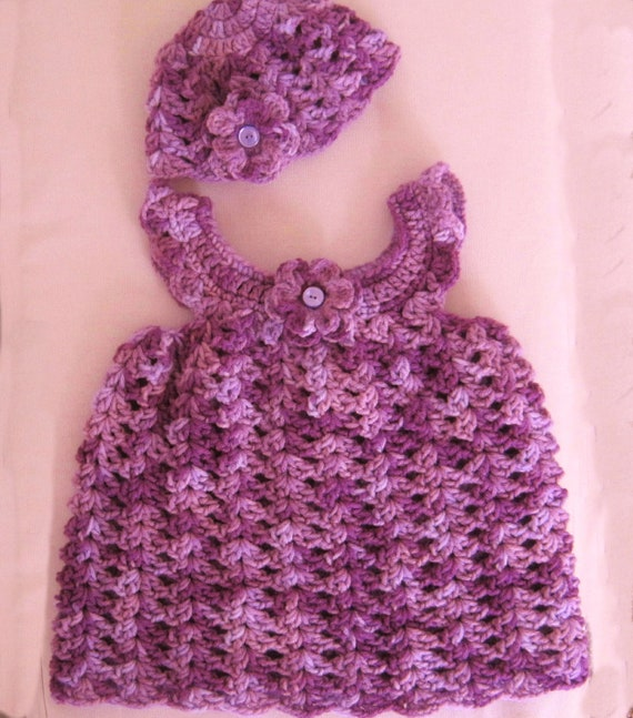 Crocheted Pinafore and Hat Set for 12 Month Old Girl - Purple Delight