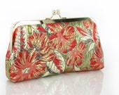 Gold Thread Brocade Clutch Bag in Red and Brown and Ivory  8-inches BROCADE etsygift